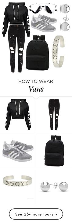 """""""Celebrate Our 10th Polyversary! #SASS """"full black urban street style"""""""" by mammiilonaaa on Polyvore featuring River Island, adidas Originals, Vans, Jewelonfire, polyversary and contestentry"""