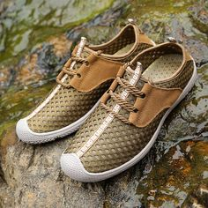 Fashion Men Mesh Fabric Breathable Quick Drying Non-slip Lace Up Casual  Shoes - NewChic