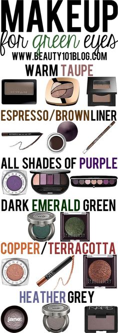 Do you have green eyes? This post is for you! Check out all the best makeup colors to help your green eyes stand out. (I don't exactly have green eyes. I have greenish hazel eyes. Beauty 101, Diy Beauty, Beauty Hacks, Beauty Ideas, All Things Beauty, Beauty Make Up, Fru Fru, Natural Wedding Makeup, Natural Makeup