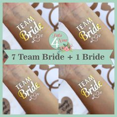 Set of 8 bachelorette party favor, bachelorette tattoo, team bride,bridal party, bridesmaid tattoo,hens party **SHIPS IN 24 HOURS