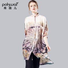 POKWAI High Quality Brand Clothing Long Shirts Women Autumn 2016 Half Sleeve Chiffon Casual Women's Tops Elegant Design Blouses