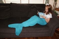 Ravelry: Mermaid Tail Lap Blanket for Children and Teens pattern by Angie Hartley $4.00 Red Heart Soft Solids & Heathers Caron Simply Soft Brites Yarn weight Worsted / 10 ply (9 wpi)  Gauge 12 stitches = 4 inches in stockinette double stranded US 11 Yardage 630 - 1400 yards depends on size  630 - 1400 yard