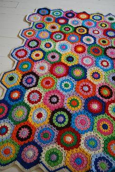 finished hexagon baby blanket by Studio SOIL, via Flickr