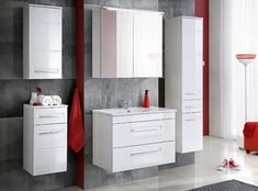Belfry Bathroom This wall mounted bathroom furniture set is a perfect complement to any bathroom interior. White-fronts in high gloss will brighten the interior of your bathroom and add elegance to your bathroom. Bathroom Sink Units, Modern Bathroom Tile, Bathroom Trends, Bathroom Storage, Bathroom Cabinets, Bathroom Furniture, Bathroom Interior, Under Sink Storage Unit, Mirror Cabinets