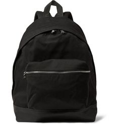 Sandro Leather-Trimmed Canvas Backpack   MR PORTER