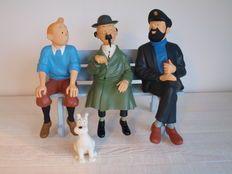 Hergé - Figure Leblon-Delienne 45 + 46 + 47 + 48 - Tintin + Haddock + Tournesol + Milou + banc - (1991/1992)