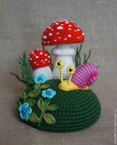 """Купить Игольница """"Мухоморы-2"""" - игольница, игольница с грибами, игольница мухомор, мухомор вязаный"""