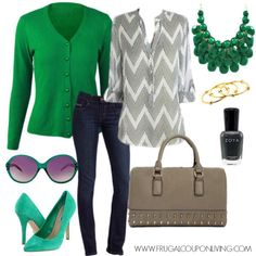 st patrick's day office outfit   Frugal Fashion Friday St. Patrick's Day Outfit – Green and Grey ...