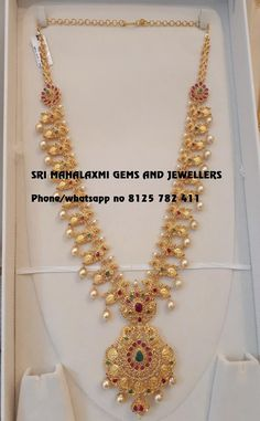 Simple designs are forever. Presenting here a very beautiful Long haaram 110 gm Gwt studded with fine quality Uncut Diamonds. Made with perfect finishing. Visit for full variety. Contact no 8125 782 411 . Jewelry Design Earrings, Gold Earrings Designs, Necklace Designs, Pearl Jewelry, India Jewelry, Gold Haram Designs, Jhumka Designs, Gold Designs, Temple Jewellery