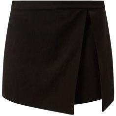 Black Split Side Skort (146.970 IDR) ❤ liked on Polyvore featuring skirts, mini…