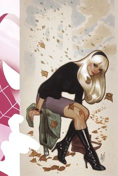 Gwen Stacy art by Adam Hughes Spider-Man Marvel Comics Comic Book Artists, Comic Book Characters, Comic Artist, Comic Books Art, Female Characters, Gwen Stacy, Adam Hughes, Marvel Girls, Comics Girls