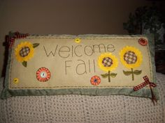 Love this! Home Decor Pillow WELCOME AUTUMN OOAK Folk by ShopOfCraftsByMyrna, $18.00