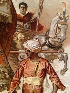 Watch my HD video of this painting at ChrisOatley.com/jcl  Detail image of a J.C. Leyendecker painting from the 'Illustrating Modern Life' exhibit at Pepperdine University.  March 2013.