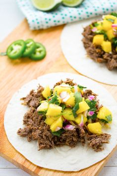 Slow Cooker Caribbean Beef Tacos with Mango Salsa