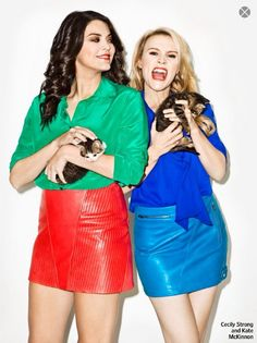 Cecily Strong  in the VEDA Spring skirt and Kate McKinnon in the VEDA Ride skirt