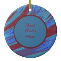Blue Red Personalized Ceramic Christmas Ornament #zazzle #holiday #gifts #xmas