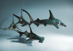 Under glass top coffee table [:::] Bronze Hammerhead Shark Sculpture by Marine Wildlife Artist Nicolas Pain Pottery Sculpture, Sculpture Clay, Abstract Sculpture, Bronze Sculpture, Shark Art, Shark Fish, Big Canvas Prints, Glass Shark, Hammerhead Shark