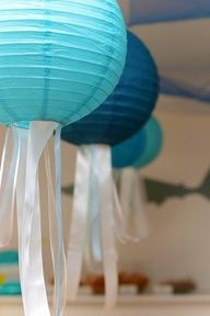 Jellyfish Paper Lanterns - clever way to use paper lanterns to make jellyfish, just by adding some complementary ribbon!