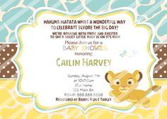 Baby Simba Baby Shower Invitations Yellow Blue