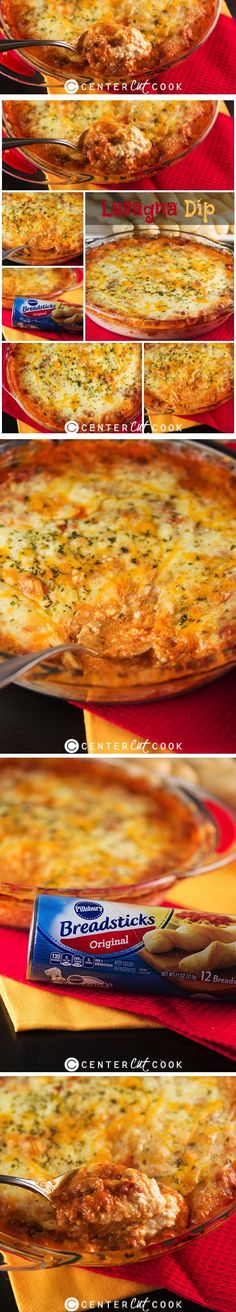 Four Cheese Lasagna Dip with instructions to make it in the oven or the crock pot! Served with garlic breadsticks as dippers, this ooey gooey cheesy dip is sure to be a hit!