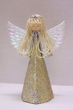 Traditional Style Gold Angel for a Christmas by TammysCraftShoppe: