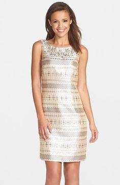 Eliza J Embellished Brocade Sheath Dress available at #Nordstrom