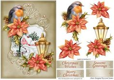 Card Front Christmas Robin on Craftsuprint designed by Carol James - A lovely card front for Christmas. Some decoupage pieces for that 3D effect. 3 Sentiment tags and 1 blank. Sentiments readMerry ChristmasSeasons GreetingsChristmas Wishes - Now available for download!