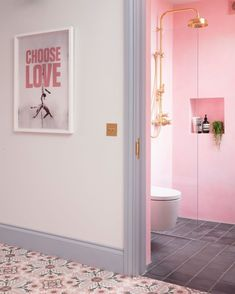 We LOVE this shot of Emily Murray's @pinkhousepins hallway and shower room, which features our Georgian shower set in polished brass 📸 @susieblowe #perrinandrowe #pinkbathrooms #modernbathroom #funbathrooms #colourfulbathrooms #luxurybathrooms #realbathroominspiration #bathroomdesignideas #brightbathrooms #brassbathroomfinishes #polishedbrasstaps Edinburgh, Edwardian House, Victorian Terrace, Pink Houses, Family Bathroom, Shower Set, Bathroom Interior Design, Bathroom Inspiration, Interior Styling