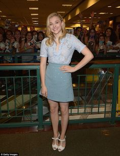 Chloe Moretz is pretty in pastels as she attends book signing #dailymail