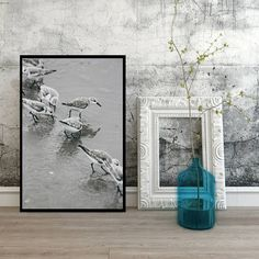Birds on beach digital download ocean wall art in the water Pretty Pictures, Sweet Home, Ocean, Birds, Wall Art, Digital, Unique Jewelry, Beach, Handmade Gifts