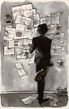 Sherlock study ~ water-soluble ink | by Kit Mills via bbcsherlockftw.tumblr