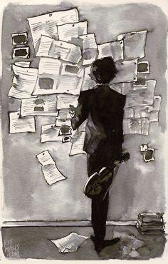 Sherlock study ~ water-soluble ink   by Kit Mills via bbcsherlockftw.tumblr