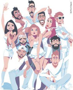Illustration de couverture pour le collectif Disquettes, par Arthur de Pins. http://www.dupuis.com/disquette/bd/disquette-tome-1-disquette/63255 #BD #Illustration #DePins #Disquette #Youtubers