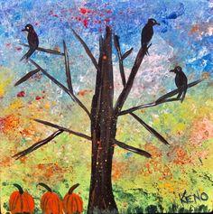"""3 CROWs in a TREE~bird 8"""" x 8"""" painting~KENO FOLK ART~outsider~COASTWALKER~USA #FolkArt"""