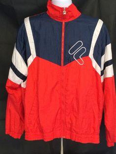 c9e68bd7d785 Vintage 80's FILA Track WindBreaker Jacket Red/White/Blue Size 44 Windbreaker  Jacket,
