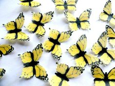 "30 Large YELLOW MONARCH Set Edible Wafer Paper Butterflies 2"" Pre Cut Butterfly Decorations Toppers Macaron Cookies By Everything's Edible"