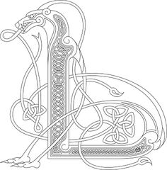Ornamental celtic initial L drawing (Animal with endless knots) vector art illustration