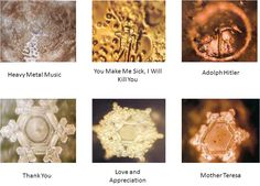 Actual microscopic responses of water's responses to the words/ideas spoken towards it. Wow.