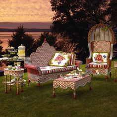 "***NOTE: I can certainly envision this ""Alice in Wonderland"" furniture on my big old front porch.*** MacKenzie-Childs - Photo Gallery"