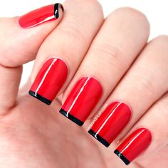 Black French Tips - red nail design