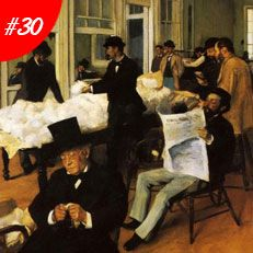 TOP 100  MASTERPIECES: FAMOUS PAINTINGS   Famous Art: Edgar Degas - A Cotton Office In New Orleans Oil Painting Reproduction   www.bocadolobo.com #greatartists #artists #luxury #luxuryfurniture #exclusivedesign #designideas