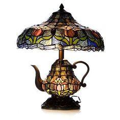 Tiffany-style stained glass teapot lamp. www.myrtletakestea.com