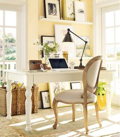 home office - pale yellow walls and white