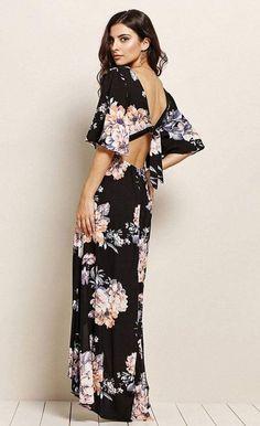 dfa9e5c16e3 Talia Black Floral Drape Maxi Dress