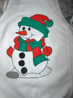 Christmas Snowman Child's Hand Painted Apron by Justsomestuff2011 on Etsy