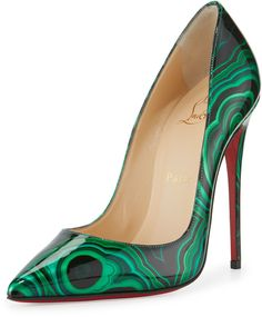 Christian Louboutin So Kate Marbled Red Sole Pump, Green/Black