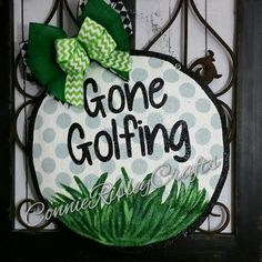 Gone Golfing, adorable golf ball can welcome your guests in style. Measures 16 inches wide and 16 inches tall Ready to hang right from the box Sprayed with acrylic sealer to protect from the weather Lightweight Slightly stuffed for effect Painted Doors, Wooden Doors, Wooden Signs, Burlap Crafts, Diy Crafts, Burlap Art, Burlap Projects, Burlap Wreath, Art Projects