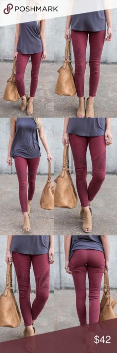 DEBBIE Biker Pants - BURGUNDY AVAILABLE IN BURGUNDY AND OLIVE.  CAn be worn casual or dressed up.  Zipper detail.    60% Cotton, 35% Nylon, 5% Spandex.  NO TRADE, PRICE FIRM Bellanblue Pants Leggings