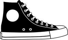 tennis shoe clip art black and white | Black Hightop Shoe clip art - vector clip art online, royalty free ...