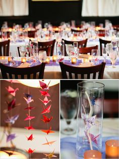 paper crane wedding ideas - know how to make an origami paper crane? See several ways on using those cranes to decorate for your wedding or next party and to even get your guests involved... kawaii (cute!) !!!!!!